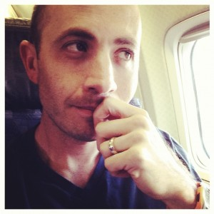 dan on an airplane